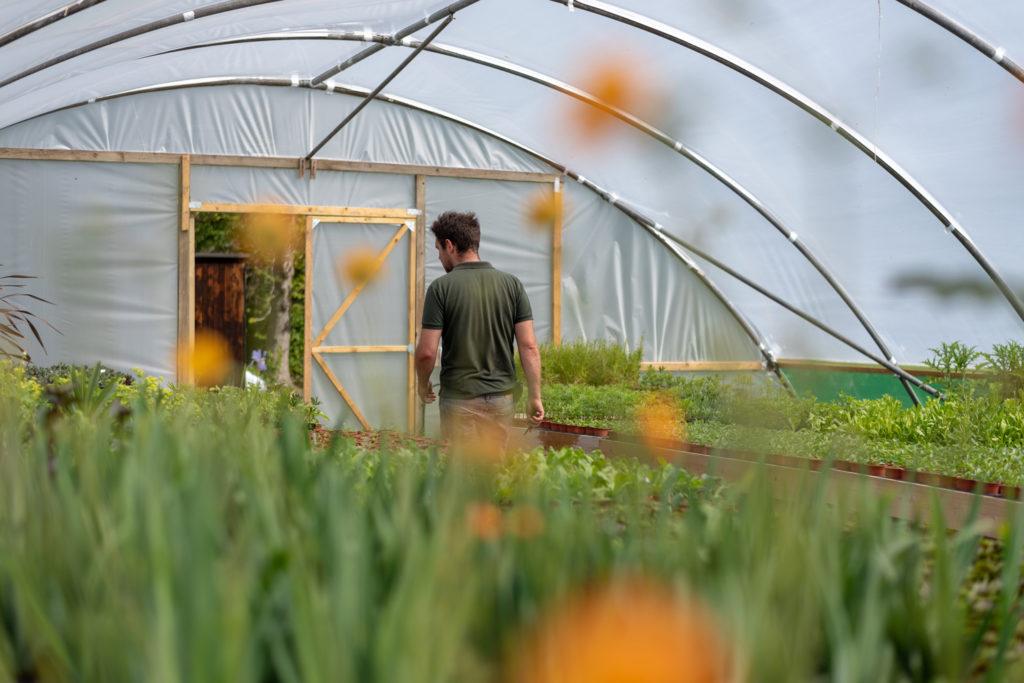 Tom gardening at Herstmonceux Castle